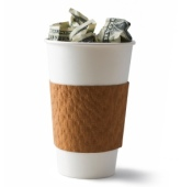 dollars in coffee cup