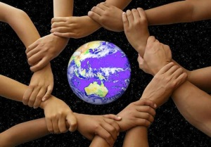 inter-connectedness hands around the world