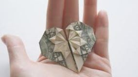 origami money heart